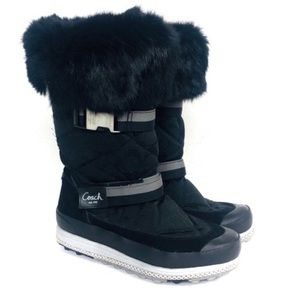 Coach Mariette Rabbit Fur Trim Winter Boot